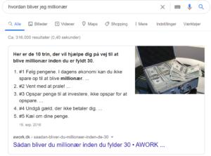 Googlesøgning over hvordan man bliver millionær, for at illustrere featured snippets