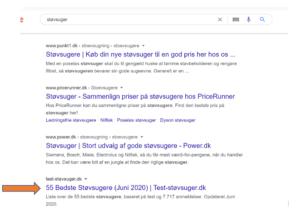 Screenshot af tvetydig søgning på google om køb af støvsuger